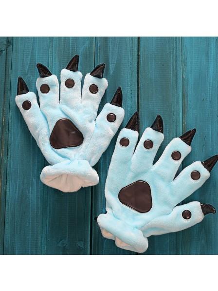 Himmelblau Kigurumi Unisex Onesies Tier Hände Paw Flanell Cartoon Handschuhe