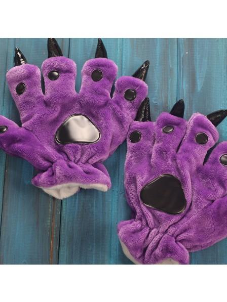 Violett Kigurumi Unisex Onesies Tier Hände Paw Flanell Cartoon Handschuhe