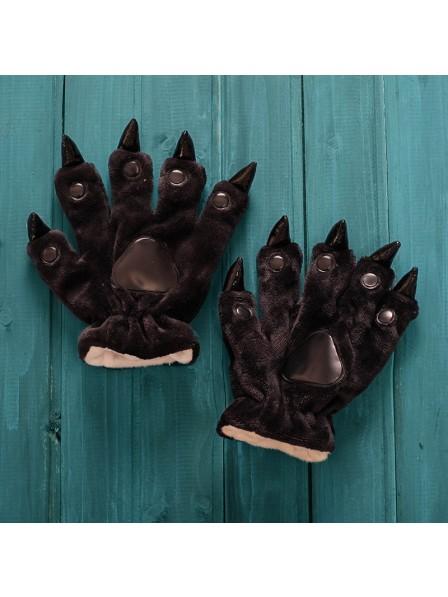 Schwarz Kigurumi Unisex Onesies Tier Hände Paw Flanell Cartoon Handschuhe