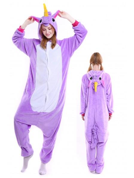 Violettes Einhorn Kigurumi Onesie Pyjamas Weich Flannel Unisex Tier Kostüme Für Damen & Herren
