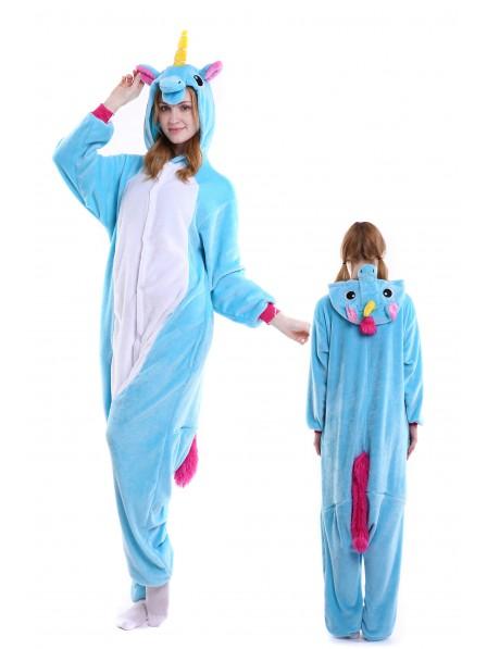 Blaues Einhorn Kigurumi Onesie Pyjamas Weich Flannel Unisex Tier Kostüme Für Damen & Herren