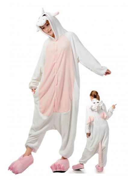 Weisses Einhorn Kigurumi Onesie Pyjamas Weich Flannel Unisex Tier Kostüme Für Damen & Herren