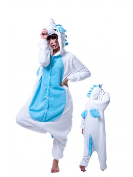 Blaues Einhorn Kigurumi Onesie Pyjamas Weich Flannel Unisex Tier Kostüme Für Erwachsene