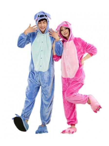 Pink Stitch Kigurumi Onesie Pyjamas Weich Flannel Unisex Tier Kostüme Für Damen & Herren