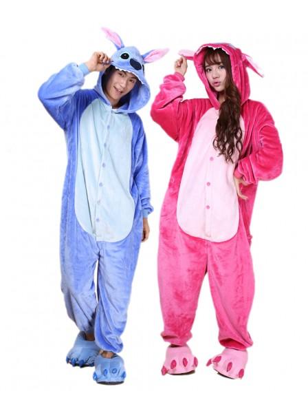 Blauer Stitch Kigurumi Onesie Pyjamas Weich Flannel Unisex Tier Kostüme Für Damen & Herren
