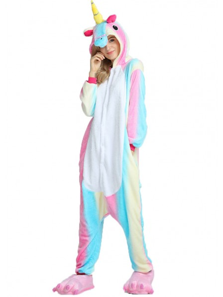 Buntes Einhorn Kigurumi Onesie Pyjamas Weich Flannel Unisex Tier Kostüme Für Damen & Herren