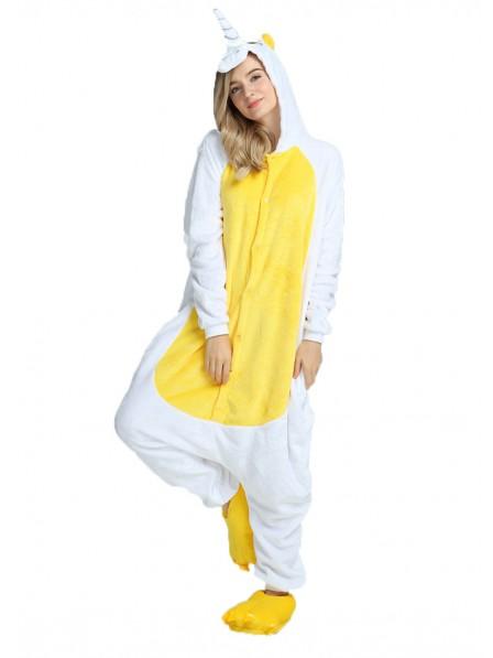 Gelbes Einhorn Kigurumi Onesie Pyjamas Weich Flannel Unisex Tier Kostüme Für Damen & Herren