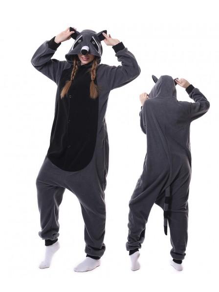 Grauer Panda Waschbär Kigurumi Onesie Pyjamas Tier Unisex