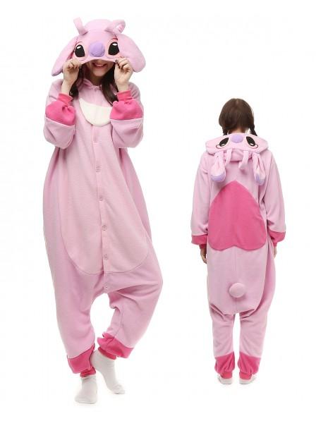 Stitch and Angel Kigurumi Onesie Pyjamas Polar Fleece Tier Unisex Kostüme Für Erwachsene