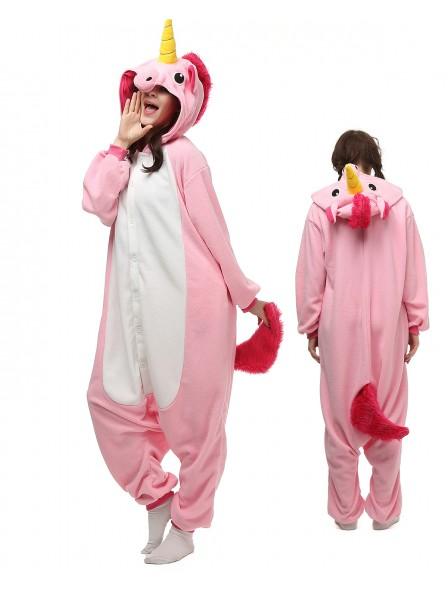 Rosa Einhorn Kigurumi Onesie Pyjamas Polar Fleece Tier Unisex Kostüme Für Erwachsene