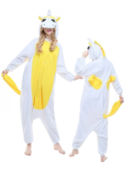 Gelbes Einhorn Kigurumi Onesie Pyjamas Polar Fleece Tier Unisex Kostüme Für Erwachsene