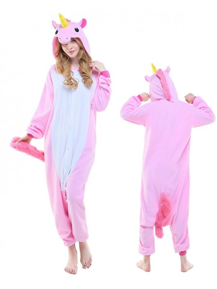 Neu Rosa Einhorn Kigurumi Onesie Pyjamas Polar Fleece Tier Unisex Kostüme Für Erwachsene