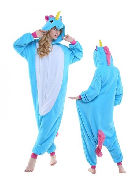 Neu Blaues Einhorn Kigurumi Onesie Pyjamas Polar Fleece Tier Unisex Kostüme Für Erwachsene