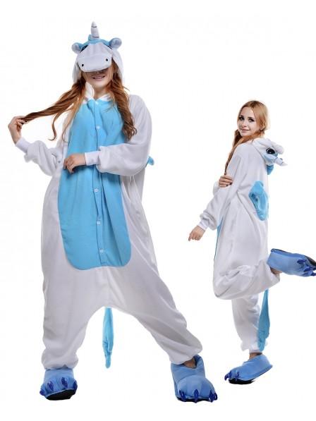 Blaues Einhorn Kigurumi Onesie Pyjamas Polar Fleece Tier Unisex Kostüme Für Erwachsene