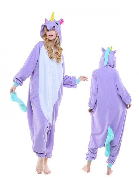 Neu Violettes Einhorn Kigurumi Onesie Pyjamas Polar Fleece Tier Unisex Kostüme Für Erwachsene