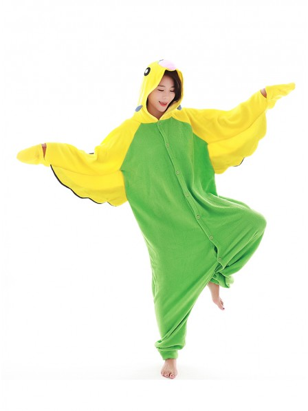 Grüner Wellensittich Kigurumi Onesie Pyjamas Polar Fleece Tier Unisex Kostüme Für Erwachsene