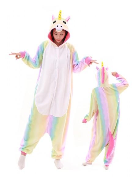 Pastell Hologramm Regenbogen Einhorn Kigurumi Onesie Pyjamas Polar Fleece Tier Unisex Kostüme Für Erwachsene