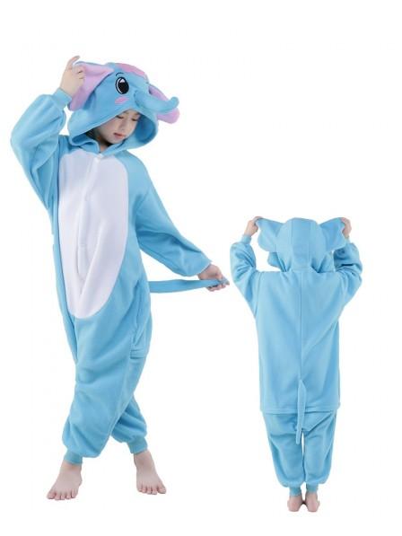 Blauer Elefant Onesie Kids Kigurumi Polar Fleece Tier Kostüme Für Jugend