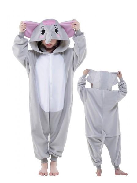 Grauer Elefant Onesie Kids Kigurumi Polar Fleece Tier Kostüme Für Jugend