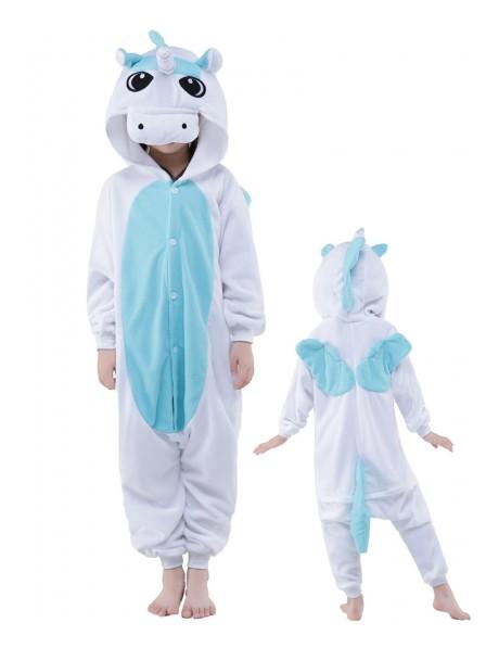 Blaues Einhorn Onesie Kids Kigurumi Polar Fleece Tier Kostüme Für Jugend