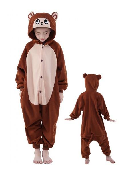 Braun Affe Onesie Kids Kigurumi Polar Fleece Tier Kostüme Für Jugend