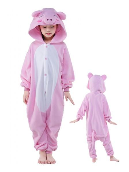 Pink Schwein Onesie Kids Kigurumi Polar Fleece Tier Kostüme Für Jugend