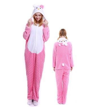 b2fdab3842 Hello Kitty Pink Kigurumi Onesie Pyjamas Weich Flannel Unisex Tier Kostüme  Für Damen & Herren ...